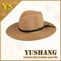 straw paper fedora hat with leather glue for straw hat wholesale