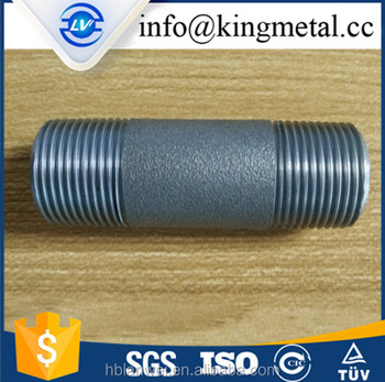 "Black Cast iron Pipe Fitting Nipple 3/4"" with thread on end"