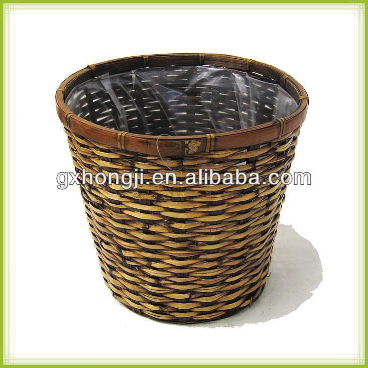 Round Bamboo Woven Planter Baskets wholesale plant pots basket for plants