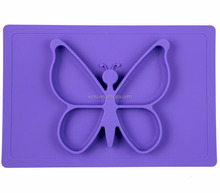 BPA Free butterfly baby silicone Feeding Mat with Custom Made Infant Feeding