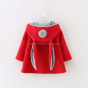 Fall Winter New Fashion 3 Colors Cotton Rabbit Ears Baby Girl Winter Coat