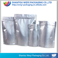 silver aluminum foil stand up packaging plastic bag zip reclosable lock bags