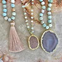 N00322 Amazonite Beads Necklace Stones and Agates Slice Pendant Necklace