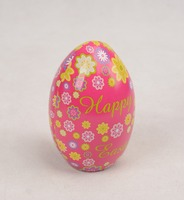 Decorative Easter egg shape uesd tin with bright color and fancy pattern