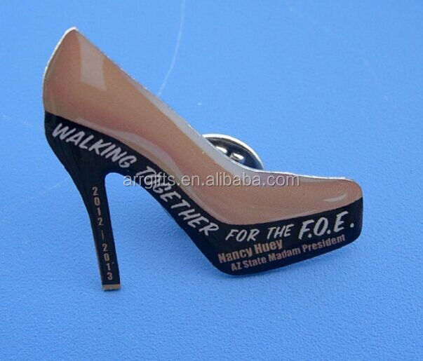 high heel lapel pin full printing badge