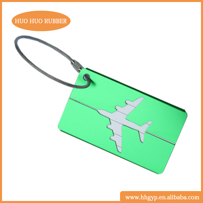 Laser/engraved/printing LOGO Different Colors Metal Luggage Tags Tavelling Tags airplane shape luggage tag HH-031