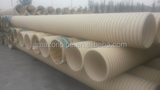 National standard quality SN8 pvc corrugated pipe waste water drainage pipe