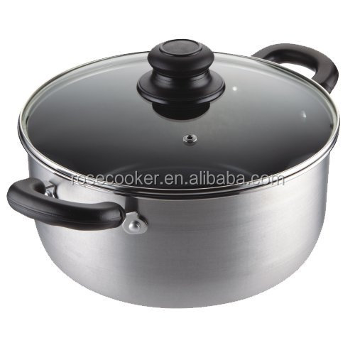 Hard-anodize Aluminum Ceramic Casserole Hot Pot with glass lid
