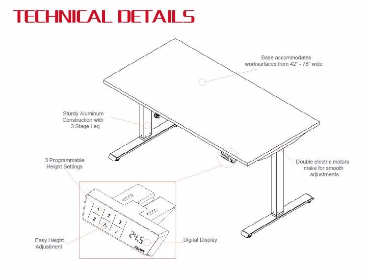 Height Adjustable Desk Sit Stand Desk Table Standing Desk