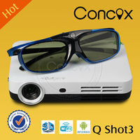 Concox dlp 3d glasses projector Q Shot3 suitable for family entertainment and party mini USB 3D projector