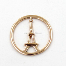 Rose Gold Tone Charm Round Hollow Engraved Eiffel Tower Locket Charm