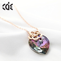 CDE crystals from Swarovski jewelry factory bulk wholesale fashion 2017 colorful heart pendant necklace