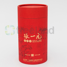 Decorative custom printed Red empty tea box paper cardboard tube round carton box tea packaging