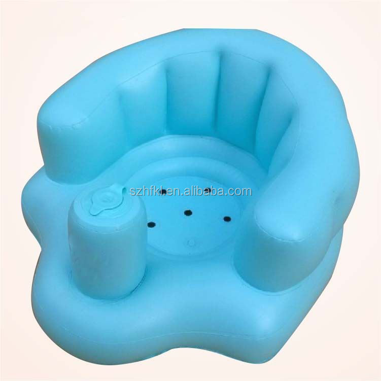inflatable pvc baby chair in blue,blow up baby bath chair