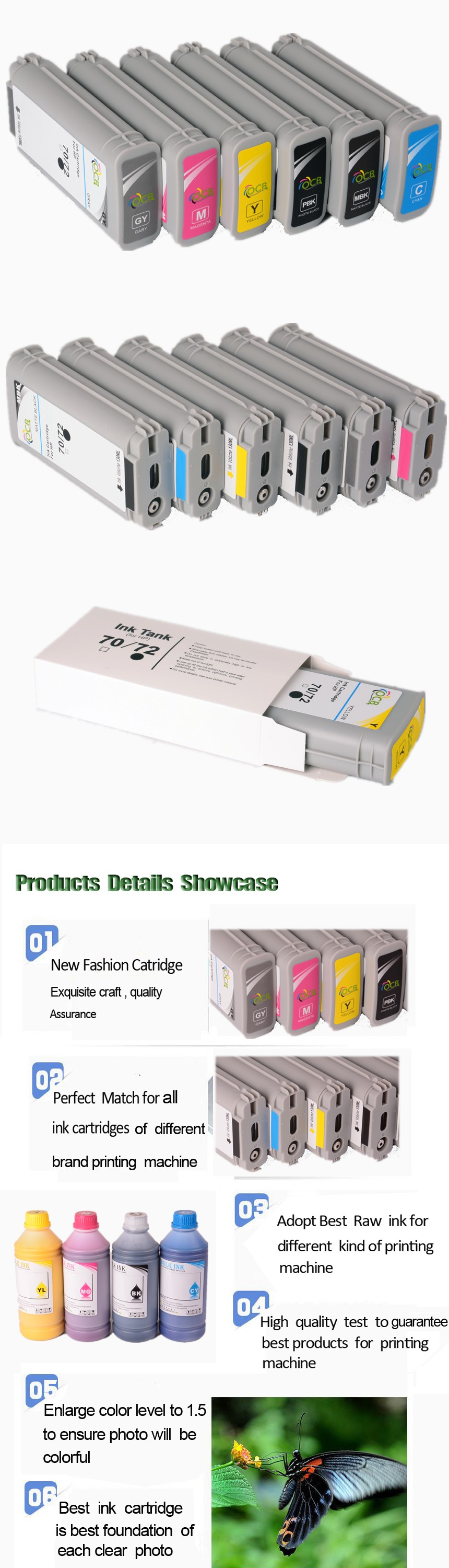 Ocbestjet 130ML For HP 72 Compatible Ink Cartridge 72 use For HP Designjet T610 T620 T770 T790 T1100 T1120 T1200 T1300 Printer