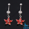 14G Navel Belly Button Ring Flower siam & Clear Gem Flower Stones Body Piercing
