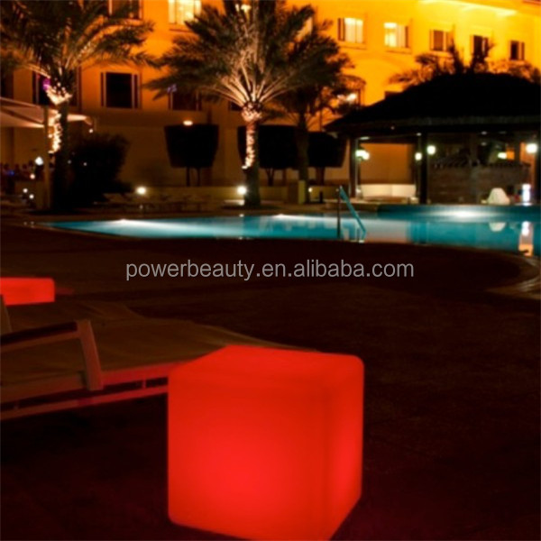 remote control outdoor using color changing plastic led cube seating