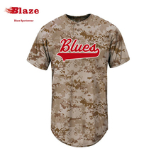 Custom sublimation 100% polyester camo baseball jersey 5xl