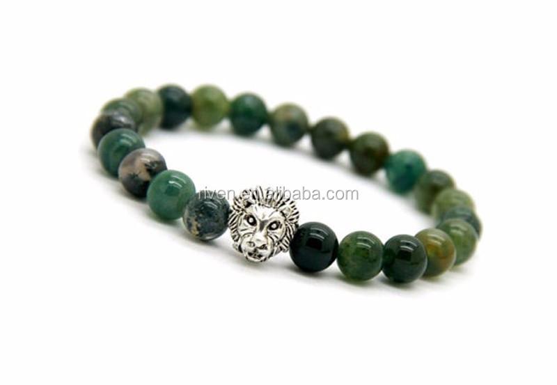 Mens Moss Agate Bracelet, Stretch Bead Bracelet , Agate Gemstone Bracelet, Mens Beaded Bracelet, Moss Agate Jewelry, Lion Green Bracelet Men.jpg
