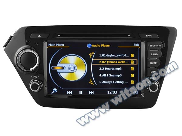 WITSON KIA RIO 2011 CAR DVD GPS WITH RAM 8GB FLASH BLUETOOTH STEERING WHEEL SUPPORT