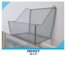 Wall mounted metal wire storage basket flower pot shelf