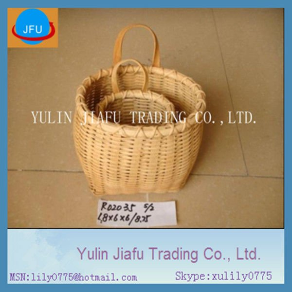 Small S/2 decorative hanging stock wood chip baskets with handles
