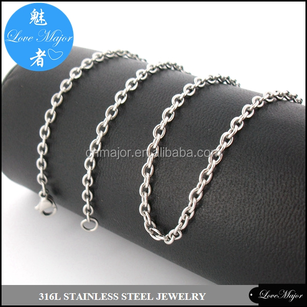 fashion 316 Stainless Steel Soldered Rolo Chains 3mm round wire jewellery