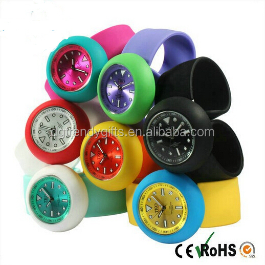 2016 Promotional Kids Children Gift Silicone Slap Wristband Watch Snap On Watches