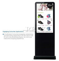46inch floor standing hd screen double sides lcd display with motion sensor for option