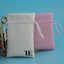 promotional white drawstring leather pouch for gift wrapping