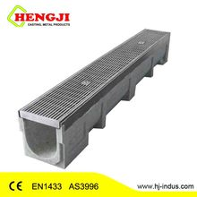 Polymer concrete trench channel with galvanized grate