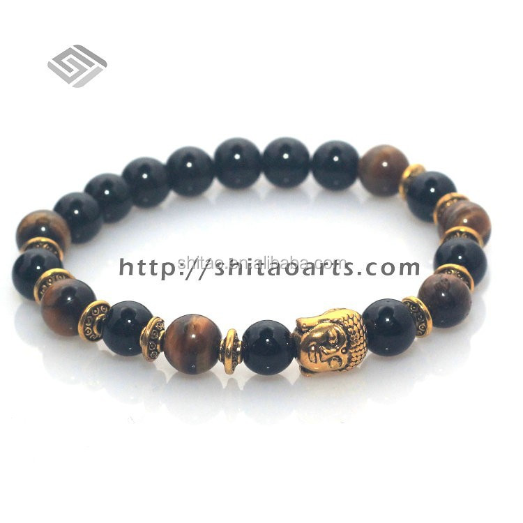 Unisex Onyx And Tiger Eye <strong>Stone</strong> ,Antique Golden buddha bracelet