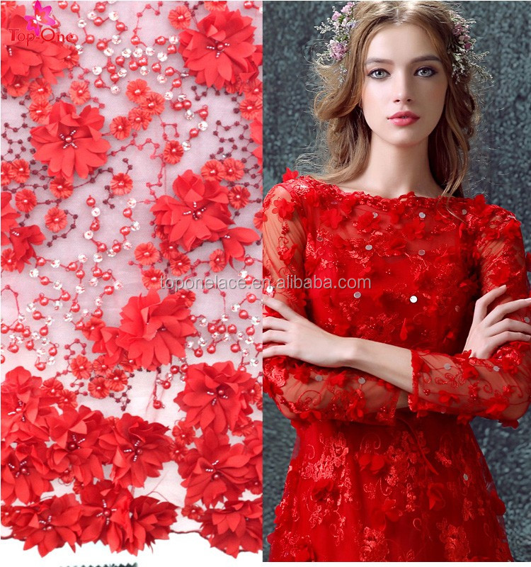 Rich red handmade pearl beading 3D flower French Lace for wedding dress mesh lace for bridal with Embroidery