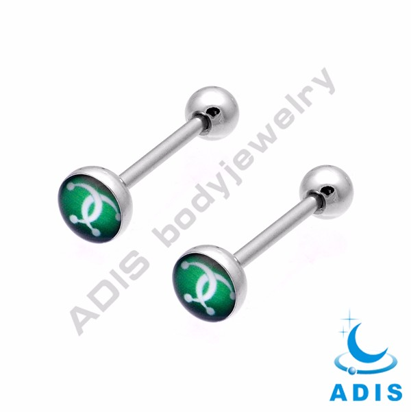 Logo Tongue Ring Bar 14Gauge Barbell Piercing Body Jewelry Sexy Toy