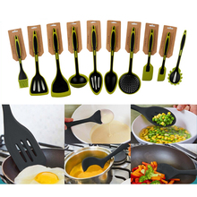 LFGB FDA approved 10pcs silicone kitchen utensil set different types heat resistant non-stick kitchen cooking gadget set