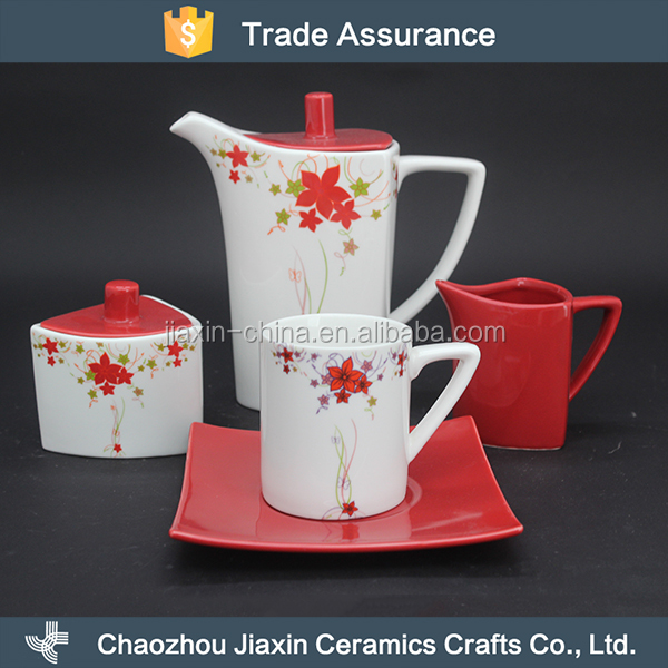 Eco-friendly flower decal red chinese porcelain tea set