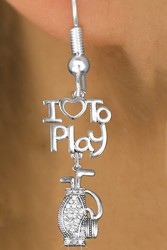 "Lead, Nickel & Cadmium Free ""I LOVE TO PLAY"" Crystal Golf Bag Charm Earring"