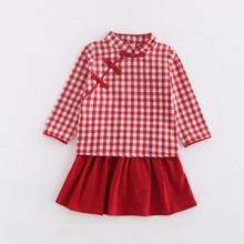 Children's clothes new autumn Chinese style dress boomer lattice Girls' national costume