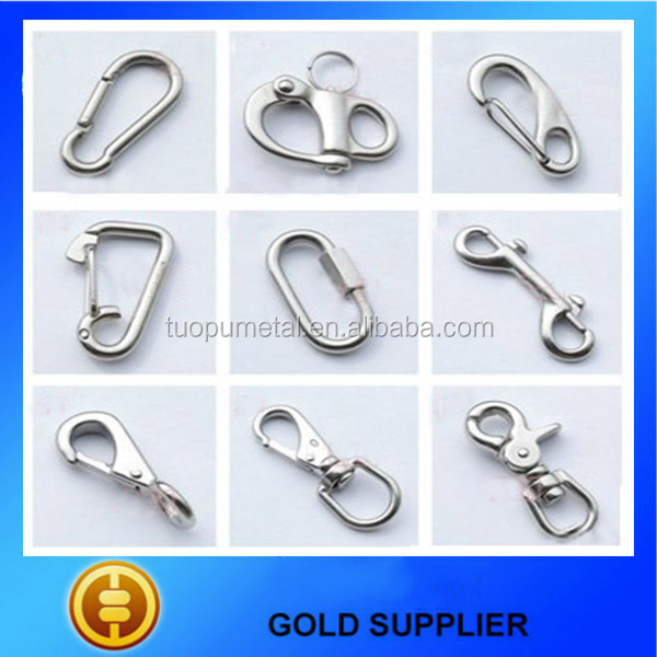 China customized quick release stainless steel carabiner clip spring Snap carabiner clip