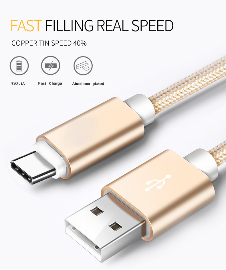 3ft Wholesale  Nylon Braided Micro Usb Cable C
