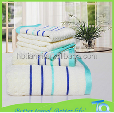 cotton or anti-bacterial bamboo fiber cut pile stripe beach towel, gift towel