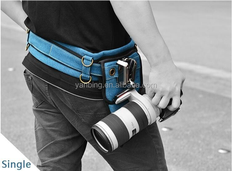 Professional universal mount button single buckle holster camera waist belt for DSLR