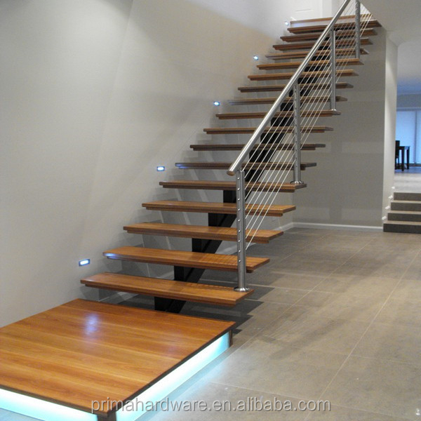 timber tread stainless steel stringer glass railing stairs design