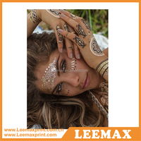 LM1087 Made in china temporary eye tattoo golden tattoo sticker metallic tattoo temporary
