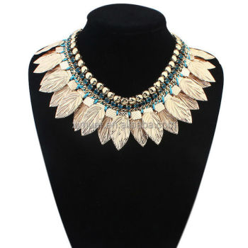 Hotsale handmade necklace woven chain gold leaf necklace