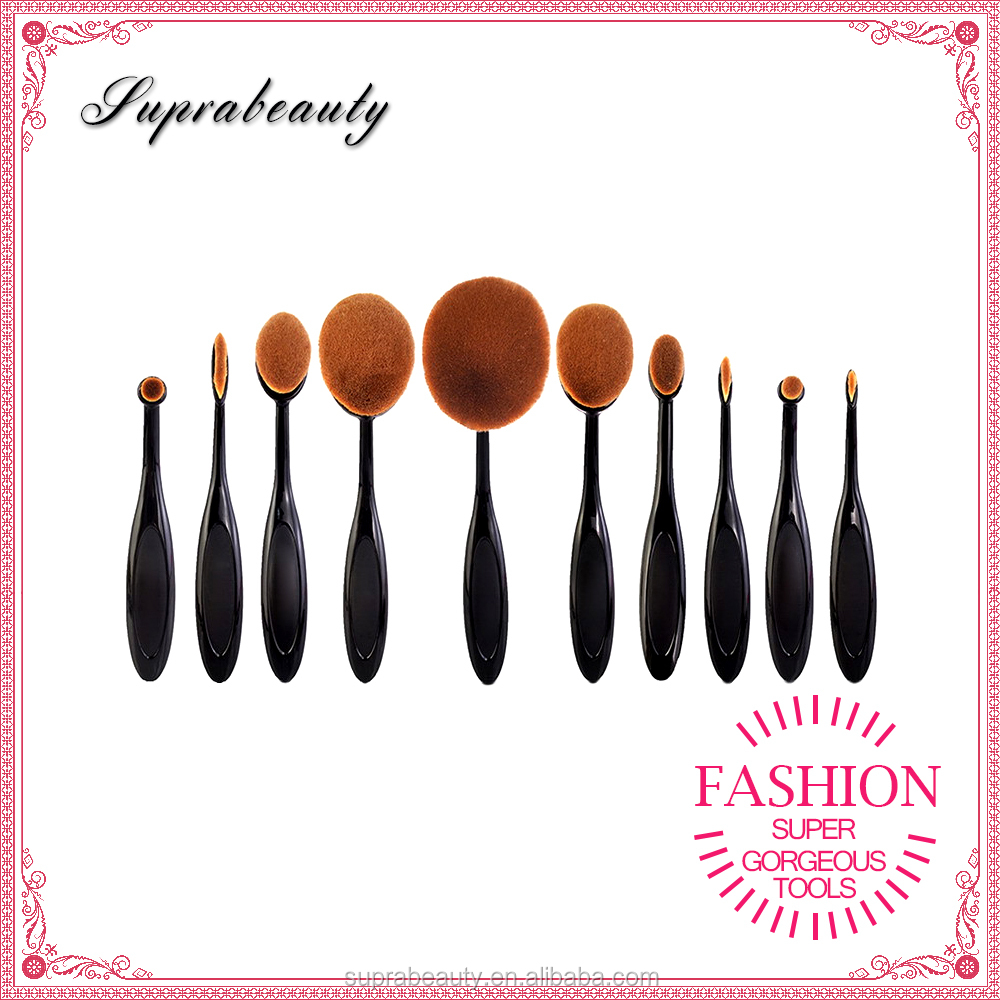 10 pcs High Quality Fashion Soft Oval Makeup Brush set