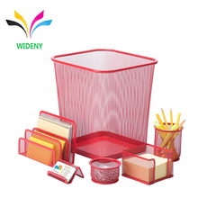 Office stationery 6 pieces powder coating silver mesh trash can using in office and home