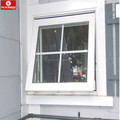 PVC profile top hung window awning window with elegant pattern glass