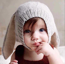 Kids Bunny Beanie Cute Rabbit Baby Knitted Hat With Long Ears