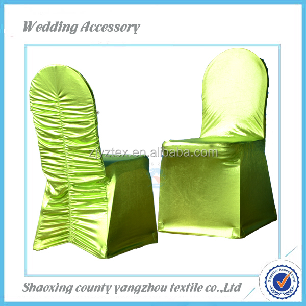 Factory wholesale ruffled metallic green banquet Chair Cover for wedding